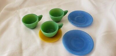 Vintage Akro Agate Glass Childs Tea Set Raised Daisy Toy Dishes Cups Plates 6pc