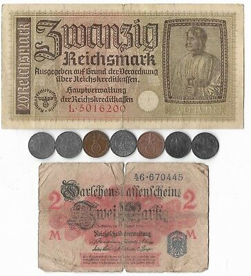 Authentic Original German Rare Old WW2 Great War Dollar Note Coin Collection Lot