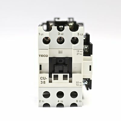 TECO CU-38 magnetic contactor, 55A, 3 phase, 24v coil, 3A1a1b (NO and NC)