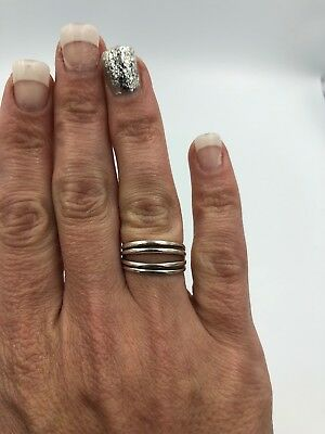 Beautiful Signed 925 Sterling Silver Handmade Openwork Modernist Ring