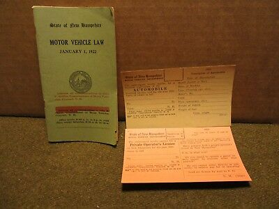 1922 New Hampshire Motor Vehicle Law booklet and 2 1923 licenses