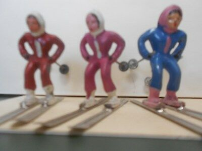 Three Vintage Barclay's Lead Winter Figures - Three Skiers Complete w/Skis & Pol