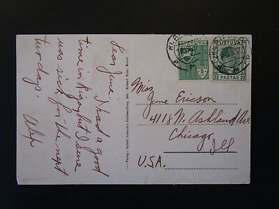 Lithuania 1937 Postcard to Chicago - Z5381