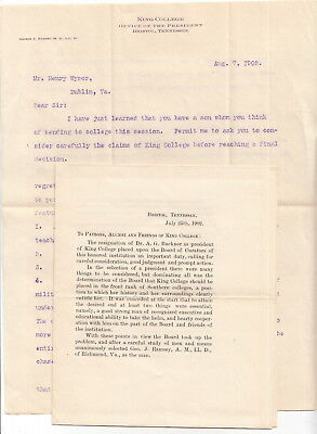 1902 Bristol Tennessee King College Letter, George J Ramsey, President