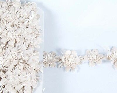 High-grade leather PU flower lace trim ribbon DIY Beaded accessories millinery