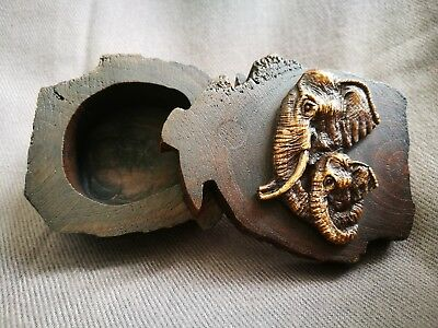 Rare Vintage Thai Elephant Brown Wooden Box Carved Trinket Jewelry Sliding Lid