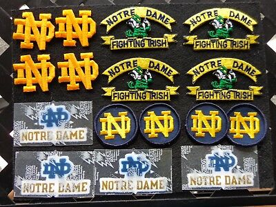 Vintage Notre Dame Fighting Irish Patches 16 Pc Lot  Old School Free Shipping