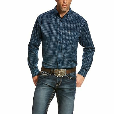 Ariat Men's Fitted Aticus Navy Print L/S Shirt 10024241