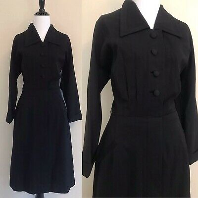 VTG 40s Black Wool Crepe Fitted Coat Pencil Day Dress Button Down WW2 Era Medium