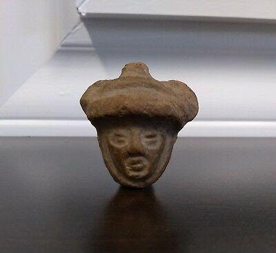 Pre Columbian Olmec Small Clay / Stone Carved Head Artifact.