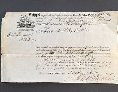 Bill Of Lading Merch.from NEW YORK TO PHILADELPHIA 1853 To SCHRACH +CO SAIL SHIP