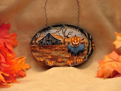 Hand Painted Halloween Wood Ornament Glitter Haunted Barn Scarecrow Pumpkin JOL