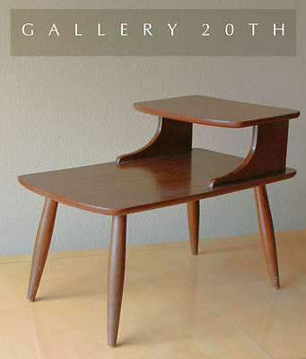 Wonderful! Mid Century Modern Tiered End Table! 50's Case Study Wood Vtg 60's