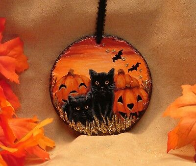 Hand Painted Halloween Slate Ornament Glitter Two Black Cats Bats JOL