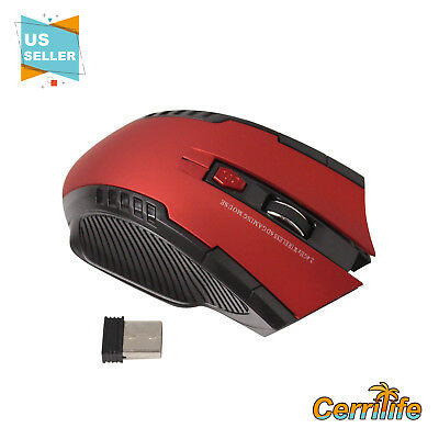 Brand New Red Wireless Gaming Mouse 2.4GHZ + USB Adjustable Dpi for Laptop