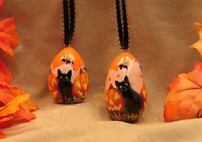 Two Hand Painted Halloween Egg Gourd Ornaments Glitter Cat Jack O' Lanterns Bats