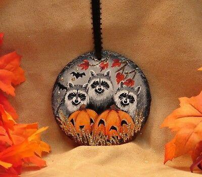 Hand Painted Halloween Slate Ornament Glitter Three Raccoons JOL Bats Fall Leaf