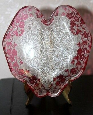 Antique Baccarat France Candy Dish Etched Cameo Glass Cranberry Rose Eglantier