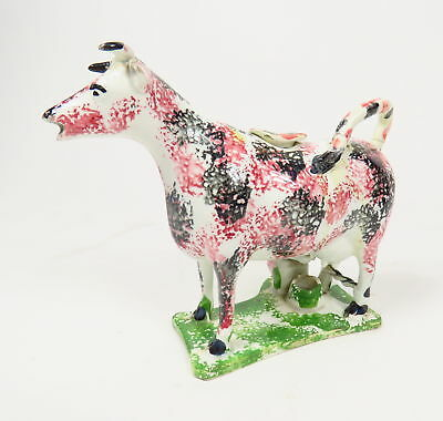 ANTIQUE 1800s ENGLISH POTTERY STAFFORDSHIRE YORKSHIRE PRATTWARE COW W/ MILK MAID
