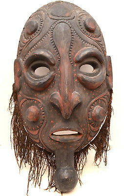 LARGE Papua New Guinea Carved Wood East Sepik River Mask VTG Oceania Iatmul Saby