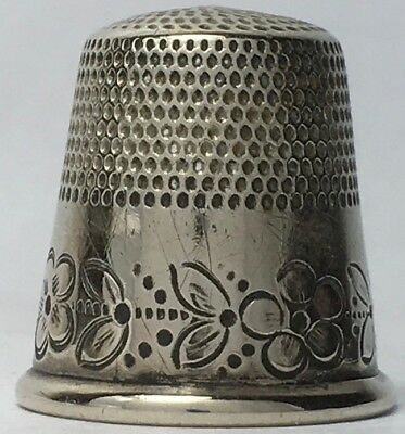 Lovely Unusual Nickel Thimble with Wide Band of Flowers all around - Size 11