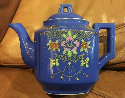 TEAPOT made In antique JAPAN. Hand Painted On Blue.