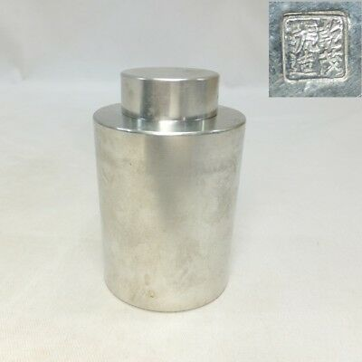 H156: Japanese tea caddy for SENCHA of tin ware with good taste and signature