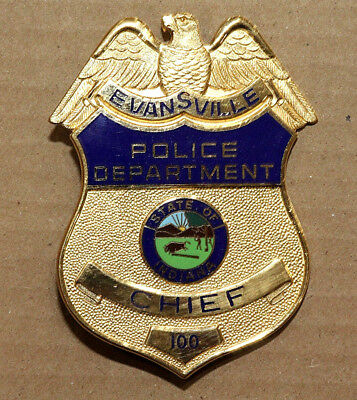"""Obsolete Evansville Indiana Police Department Gold Chief Badge - 3.25"""" Full Size"""