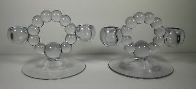 Vintage Pair of Imperial Glass Candlewick Double Candle Holders
