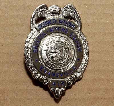 """Obsolete Evansville Indiana Bristol-Myers Squibb Security Officer Badge - 2.75"""""""