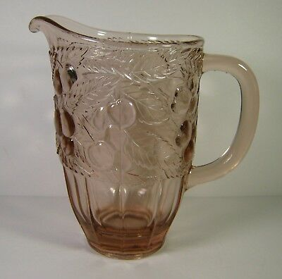 Vintage Pink Glass Water Pitcher Cherry Berry
