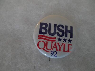 Presidential George Bush Pin Back Campaign President Button Candidate Dan Quayle