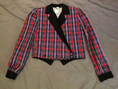 NOS NWT Vintage Girls 12 Shiny Plaid Quilted Blazer Jacket JAZZ California USA