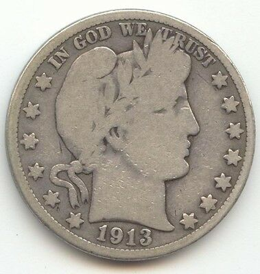1913 Barber Half Dollar, Full Rim Good-VG