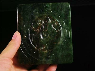 Large Old Chinese Nephrite Spinach Green Jade Carved Pendant Netsuke DRAGON IMAG
