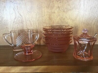 Lot of Pink Depression Glass - 6 dessert dishes, Condiment Dish, Candle Holder,