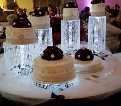 Cascading Waterfall Acrylic Wedding Cake Stands with Lights