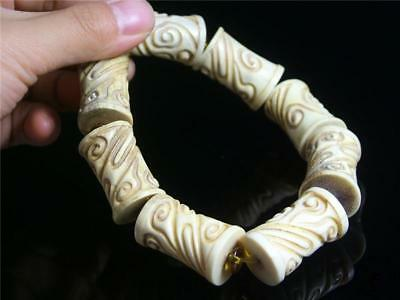 Fine Old Chinese Deer Horn Carved Bracelet Prayer Beads RUYI PATTERN ON EACH BEA