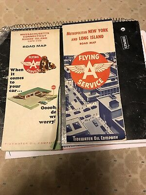1950 & 1965 Flying A Service Road Map (Tidewater Oil)