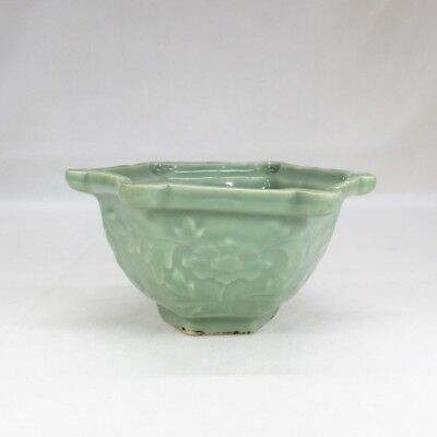 H207: Japanese bowl of OLD SANDA blue porcelain of appropriate relief and tone