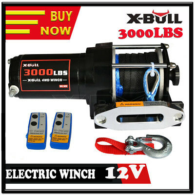 X-BULL 12V Wireless 3000LBS / 1361KGS Electric Winch Synthetic Rope ATV 4WD