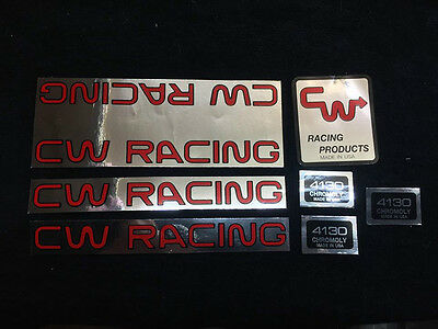Vintage VECTOR MARK 1 BMX  nos RACING frame DECALS RED AND METALLIC LOT OF 5