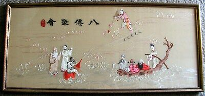 """Vintage Chinese Asian Silk Embroidery Wall Art 8 EIGHT IMMORTALS FRAMED 14.5x32"""""""
