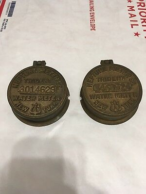 Vintage Pair Neptune Meter Co Trident Brass Water Meter Covers Lot of 2 New York