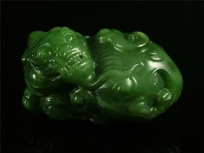 Old Chinese Spinach Green Nephrite Jade Carved Auspicious Lion Statue Toggle