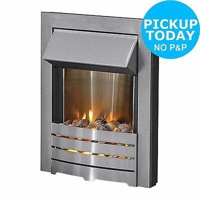 Adam Helios Electric Inset Fireplace Fire - Brushed Steel