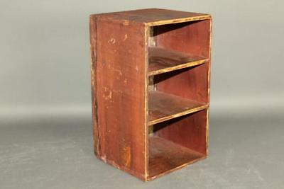 Nice 19Th C Primitive Hanging Or Table Open Cupboard In Great Old Red Wash Paint