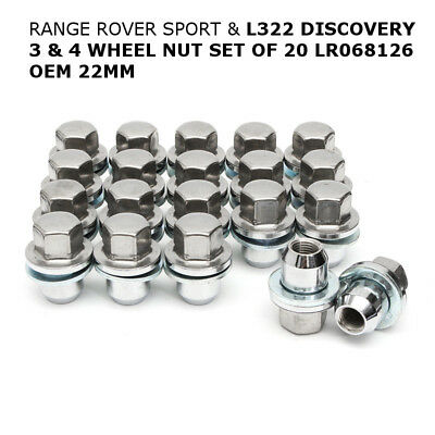 20x WHEEL NUT SET LR068126 22MM For RANGE ROVER SPORT & L322 DISCOVERY 3 & 4