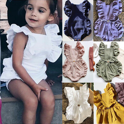 Newborn Baby Girl Solid Color Romper Ruffle Cotton Jumpsuit Outfit Sunsuit 0-24M