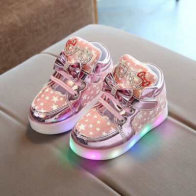 Toddler Baby Sneaker Star Bow Lace Up Luminous Child Kid Girl Casual Light Shoes